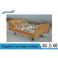 Two Manual Crank Nursing Home Beds Solid Wood Structure Aluminum Alloy Side Rail Manufactures