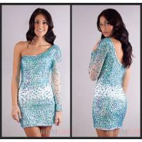 Buy cheap Mini Sheath Long Sleeve Crystal Evening Homecoming Dresses With One Shoulder from wholesalers