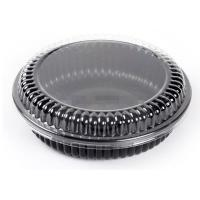 PP material Black Round food box takeaway fruit salad box with lid Manufactures