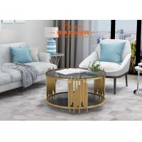Buy cheap International Luxury Living Room Furniture Sofa Coffee Table Gold / Black Glass Finish from wholesalers