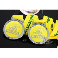 Buy cheap Two Rivers Marathon Custom Sports Medals Raised Metal And Filling Color In Recessed Metal product