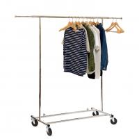 Buy cheap Chrome Metal Clothing Rack On Wheels / Extendable Rods Portable Metal Clothes Rack from wholesalers