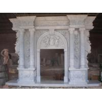 Buy cheap Custom make hand carved marble large angel stone fireplace from wholesalers