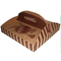 Buy cheap Stripe Folding Brown Paper Box Packaging With Handle For Pizza from wholesalers