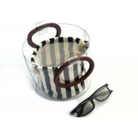 Buy cheap Canvas Round Shape Navy Blue Clutch Bag Stripe Pattern With Wood Handle 0.8 MM from wholesalers