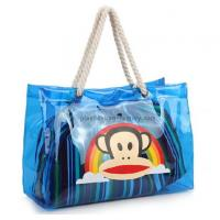 Buy cheap Blue waterproof clear PVC tote bags , recycled tote bags with cotton rope handle from wholesalers