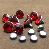 Buy cheap Silver Framed Rivets Rhinestone Settings 5-11mm Red Glass Studs DIY Spots Fit for Bags Belts Hats Garment Accessories from wholesalers