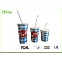 Wholesale Eco friendly Cold Paper Cups With Plastic Straw And Lid , Large Medium Small Size from china suppliers