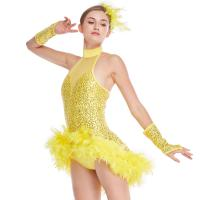 Buy cheap Mock Neck Sequins Jazz Costume Feather Trimmed Dance Dress Illusion Deep-V Joints Performance Wear from wholesalers