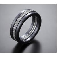 Three Finger Black Women Ceramic Silver Ring With Rhodium plated Manufactures