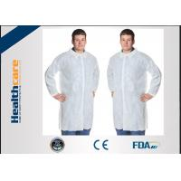 Buy cheap Polypropylene Disposable Lab CoatWith Knitted Cuff And Button Blue Or White Color from wholesalers
