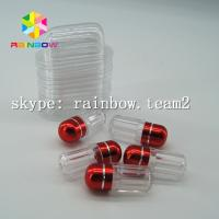 Buy cheap Clear capsule plastic medicine bottle , sex pill container with aluminum foil gold cap from wholesalers