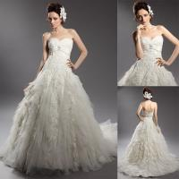 Buy cheap A Line Teried Ruffles Sweetheart Wedding Gowns , Sleeveless Lace Ball Gowns from wholesalers