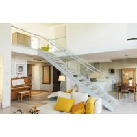 Wholesale Modern villa stair design  Glass railing stainless balustrades wooden tread straight staircase from china suppliers