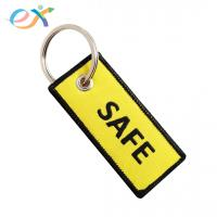 Buy cheap UK Style woven key tag Double Side Black And Yellow Color With Merrow Border from wholesalers