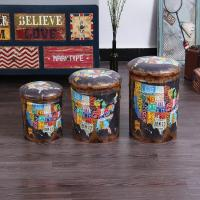 Buy cheap Vintage Retro Storage Drum's Stool Tin Bucket Barrel Stool Seat Containers Storage Stool from wholesalers