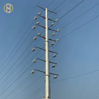Buy cheap 33KV 18m Steel Utility Pole , Steel Power Poles With Insulator And Conductor product