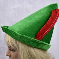 Buy cheap Oktoberfest green Peter pan hat red feather party hat 58-60cm velvet fabric green color from wholesalers