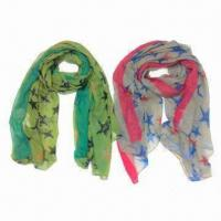 Buy cheap 100% polyester star printed scarves, suitable for spring and autumn seasons from wholesalers