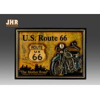 Buy cheap Classic US Route 66 Wall Signs Wooden Wall Plaques Resin Motorcycle Wall Decor Pub Sign from wholesalers