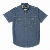 Buy cheap Men's casual denim shirt with twin flap chest pockets from wholesalers