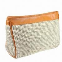 Buy cheap Straw/PU/PVC Cosmetic Bag, Stylish and Unique Design, Decorated with Leather from wholesalers