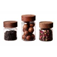 Buy cheap Clear Small Coffee Canister Glass Kitchen Storage Jars With Wood Lid Round Shape product