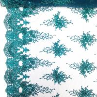Buy cheap Green Color Teal Spirit Floral Bridal Beaded Lace Fabric On Mesh 100% Polyester from wholesalers