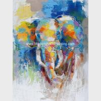 Buy cheap Abstract Colorful Elephant Painting On Canvas / Animal Print Canvas Wall Art product
