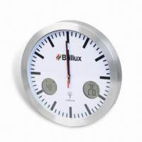 Buy cheap 433MHz Thermometer Wall Clock, Measuring 30 x 4.5 x 30cm, Made of Aluminum and Glass from wholesalers