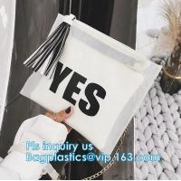 Buy cheap ziplock candy bags, water proof cosmetic vinyl PVC/EVA slider zipper plastic bags, Reclose Holographic Slider Cosmetic M from wholesalers