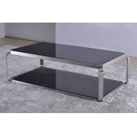 Buy cheap Custom 2 Layer Black Gloss Square Coffee Tables and End Tables with Chromed Tubes from wholesalers