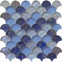Blue blend serie backsplash water waving glass mosaic Manufactures