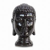 Buy cheap Ceramic Buddha Head Statue with Dark Coffee Glaze Finish, Customized Size and Design are Accepted from wholesalers