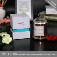 Luxury domed soy wax candle with rose gold glass jar,bell glass lid and gift box