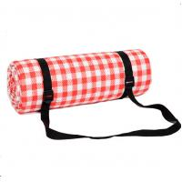 Buy cheap Outdoor Picnic Floor Mat Red And White Plaid Fleece Material Made from wholesalers