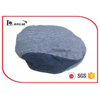 Buy cheap Elastic Adjustable Flat Caps For Kids , Navy And White Flat Cabbie Hat from wholesalers