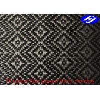 Buy cheap Rhombus Pattern 3K Twill Weave Carbon Fiber / Decoration Black Jacquard Fabric product