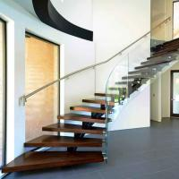 Buy cheap Solution customized home decoration open riser staircase design curved staircase from wholesalers