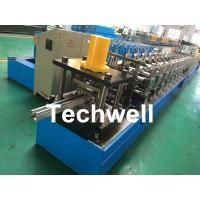 PPGI, Galvanized Steel Guide Rail Roll Forming Machine With Disk Saw Cutting For Making Shutter Door Slats Manufactures