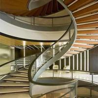 Quality Top Grade Residential /Commercial Prefabricated Beautiful Stainless Steel wooden Curved Stairs for sale