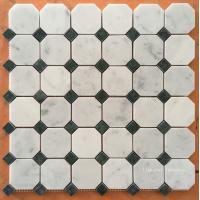 Buy cheap Dark Green & White Carrara Marble Mosaic Tiles product