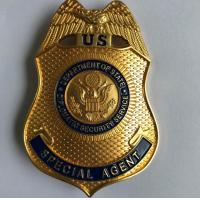 Buy cheap High quality metal stamped gold plated engraved metal police badge from wholesalers