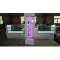Hairdressing Kiosk by Counters and Glass Showcase in White glossy painting with Pink LED light Manufactures