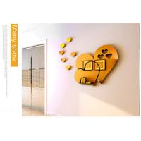 Buy cheap Hot sale self adhesive wall mirror decoration stickers LOVE Heart shaped sticker home decoration from wholesalers