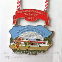 Buy cheap Color enamel painted metal medallions with double ended ribbon, enamel painting medals, from wholesalers