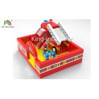 China Fire Fighting Truck Theme Inflatable Jumping Bouncer Castle For Commercial Amusement on sale