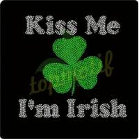 Buy cheap Kiss me I'm Irish Wholesale Rhinestone Heat Transfer for ST.PATRICK'S DAY decoration from wholesalers
