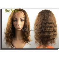 Buy cheap Curly Glueless Front Lace Wigs Human Hair Brown 12 - 28 Grade 5A from wholesalers