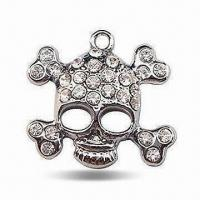 Buy cheap Skeleton-shaped Dog Tag with 28pcs Shining Rhinestones, Made of Non-rust Alloy product
